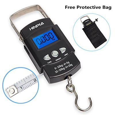 Hinpia Fishing Scale Hanging Backlit LCD Screen 110lb./50 kg Capacity With Tape