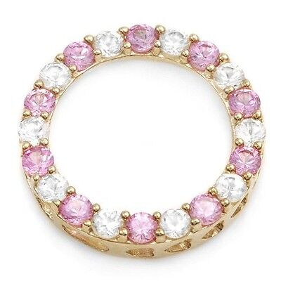 Created Sapphire Circle Necklace Pendant Pink White SOLID 10k Yellow Gold ylg (Pink Sapphire Circle Pendant)