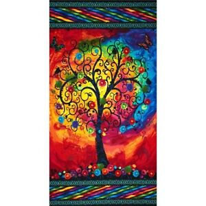 FANTASIA TREE OF LIFE...QUILT FABRIC PANEL...FREE POST...STUNNING