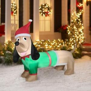 5' Dachshund Christmas Airblown Inflatable Outdoor Christmas Decor Wiener Dog