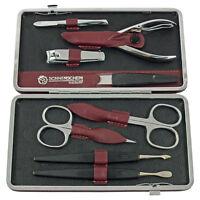 Qualità Tedesco 8 Piece Set Manicure In Bordeaux Rossa Pelle (75080bord) -  - ebay.it