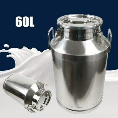 60l Milk Can Pail Heavy-gauge Stainless Steel Bucket Silicone Seal 1mm Thickness
