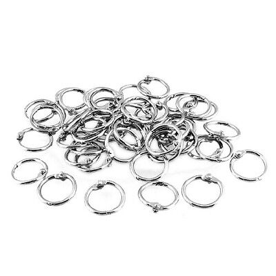 50 Pcs Staple Book Binder 20mm Outer Diameter Loose Leaf Ring Keychain Uk New T1