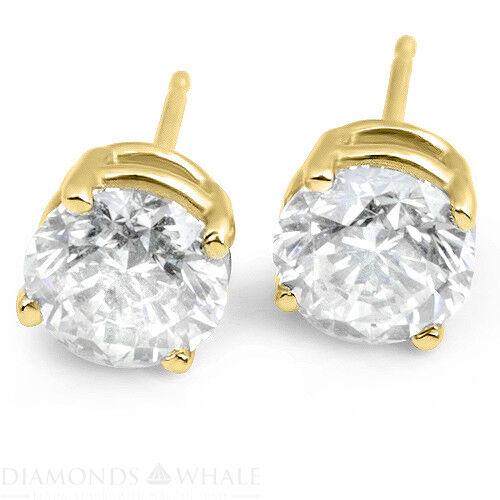 1.1 Ct Round Stud Diamond Earrings Vs1/d 18k Yellow Gold Engagement, Enhanced
