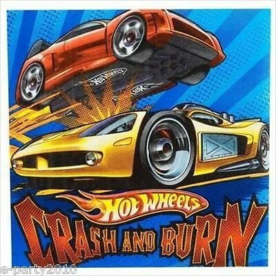 HOT WHEELS Speed City LUNCH NAPKINS (16) ~ Birthday Party Supplies Dinner Large (Party City Supplies Birthday)