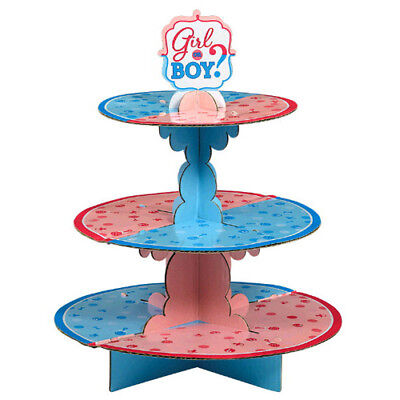 BABY SHOWER GENDER REVEAL 3-TIERED CUPCAKE STAND ~ Party Supplies Boy or Girl](Baby Boy Party Supplies)