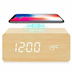 fomobest Wooden Alarm Clock with Wireless Charging for iPhone Samsung, Wood Digi