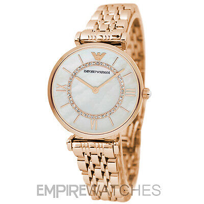 *NEW* EMPORIO ARMANI LADIES GIANNI ROSE GOLD T-BAR WATCH - AR1909 - RRP £379