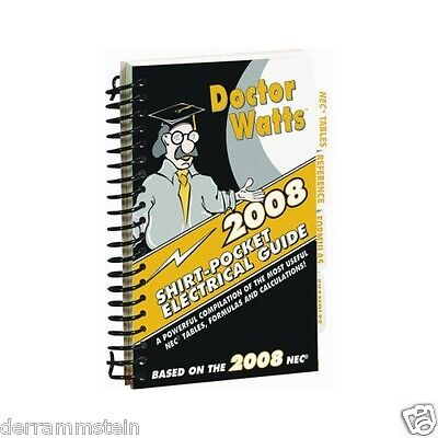 New Doctor Watts Pocket Electrical Guide 2008 Spiral Bound Laminated B249