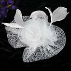 Chique Off White / Witte Birdcage Veil - Fascinator
