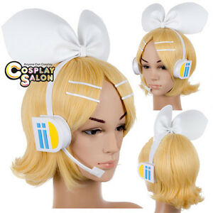 Fashion Kagamine Sister Rin VOCALOID Headphones Earphone Cosplay Accessories