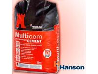 30 BAGS Cement, 15 are Waterproof Plastic Bags, 15 paper new HANSON MULTICEM £110 is lowest price
