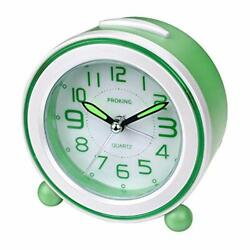 Analog Alarm Clock With Night Light Compact Non Ticking Bedside Travel Silent
