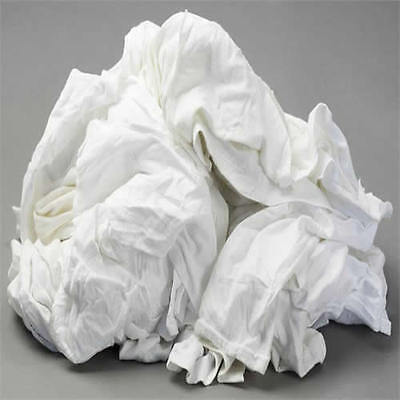 White Knit T-shirt Wiping Rags Cleaning Cloth 50 Lb Box - Best Quality Price