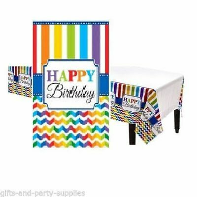 Rainbow Chevron HAPPY BIRTHDAY Table Cover Birthday Party Decoration - Happy Birthday Table Cover