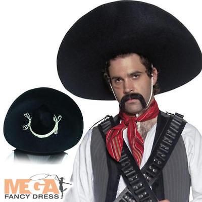 Mexican Sombrero Black Bandit Hat Western Fancy Dress Costume Mens (Black Bandit Kostüm)