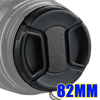 82mm Center Pinch Snap on Front Lens Cap Cover for Canon Nikon Sony with String