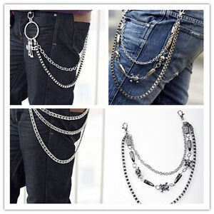 Jeans Trousers Pants Belt Key Chain Hip Hop Punk Skull Gothic Metal Chains Rock | eBay