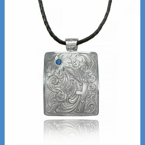 Montana Silversmiths Hidden Cross Floral with blue stone Necklace