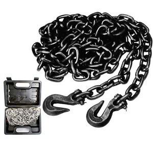 14FT HEAVY DUTY RECOVERY TOW TOWING CHAIN GRAB HOOKS