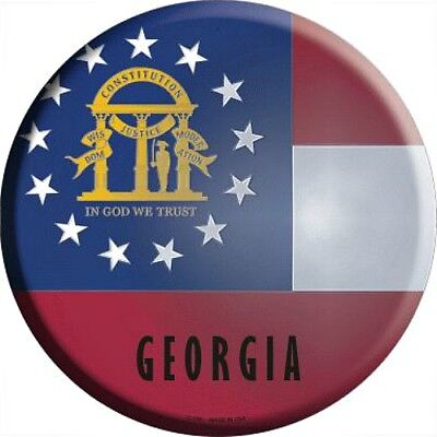 """GA Georgia State Flag 12"""" Round Metal Sign US Patriotic Man Cave Decor Americana for sale  Shipping to Canada"""