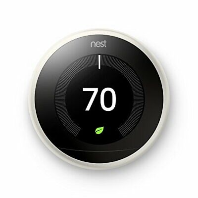 Nest Learning Thermostat, 3rd Gen, Smart Thermostat, White, Works With Alexa