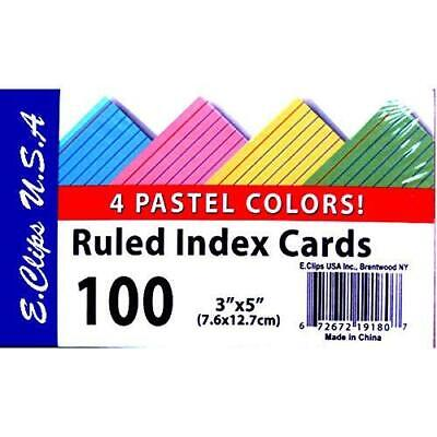 Index Cards 3x 5 100 Pk Pastel Colors Ruled Case Pack Of 60