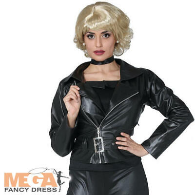 Biker Chick Fancy Dress (70s Leather Jacket Ladies Fancy Dress Biker Rocker Chick Adult Costume)