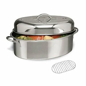 Stainless Steel Roaster Set Oval Roasting Pan Rack Chicken Turkey Cookware 3 Pc