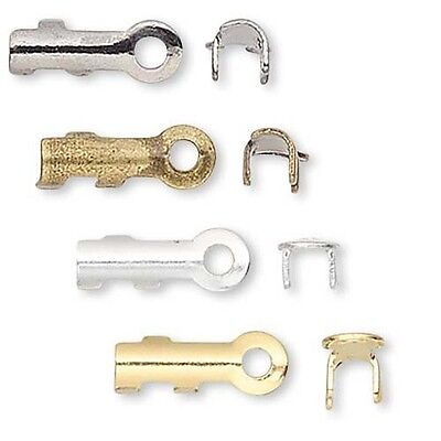 Crimp Bead Cord Ends (100 Fold Over Cord Crimp Bead End Tip Findings W/ Loop For Jewelry Cord & Wire )