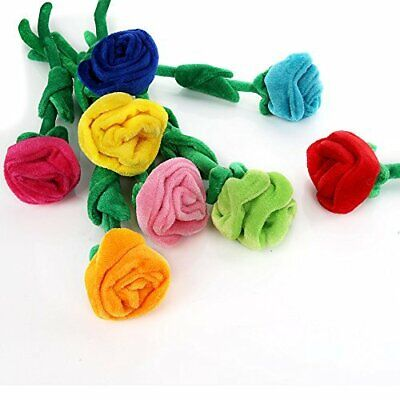7 Colors Rose With Bendable Stem Bright Color Velvet Flower Stuff Plush Toy Gift