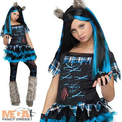 Werewolf Wolfie Girls Fancy Dress Halloween Spooky Kids Childrens Costume Outfit (Werewolf Halloween Costumes For Girls)
