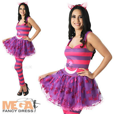 Sassy Cheshire Cat Ladies Fancy Dress Alice in Wonderland Womens Costume (Sassy Alice Kostüme)