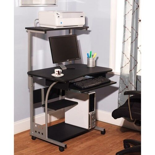 Computer Desk w/ Printer Shelf Stand Home Office Rolling Lap