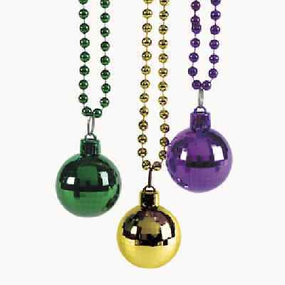 Disco Ball Favors (Beaded Necklaces With A Disco Ball 3 Piece Mardi Gras Party)