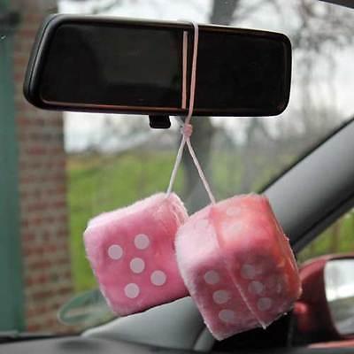 Plüschwürfel rosa pink, Fuzzy Dice, Oldschool, Retro, VW, Opel, Renault, Peugeot