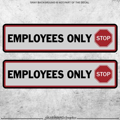 2x Employees Only Sticker Decal Business Checks Window Register Door Store Vinyl