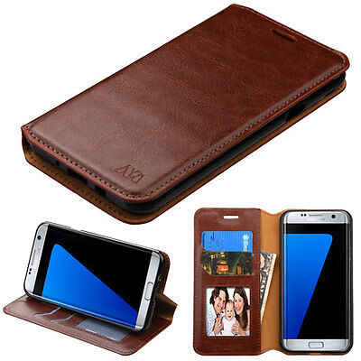 Brown PU Leather Wallet ID Slot Phone Case Cover Samsung Galaxy J7 Sky Pro