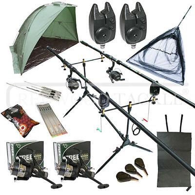 OAKWOOD Full Carp Fishing Set Up Kit Rods Reels Alarms & Tackle Mat & Shelter