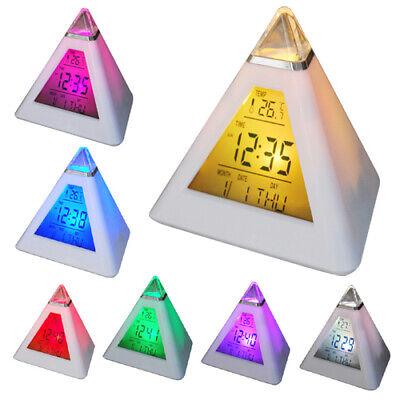 7 Colores LED Reloj Despertador Eléctrico Digital Batería Dormitorio Infantil