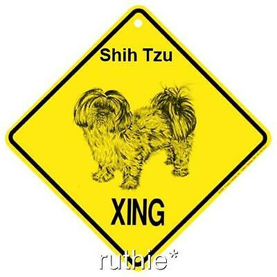Shih Tzu Puppy Cut Dog Crossing Xing Sign New Made in USA