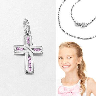 Mädchen Kreuz Anhänge Zirkonia pink Taufe Kommunion Firmung Silber 925 mit Kette