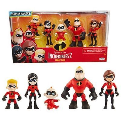 "Disney Pixar Incredibles 2 Family Pack 3"" inches 5 Figures Collection New In Box"
