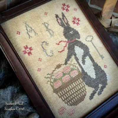 Spring Bunny - Spring Gathering Easter Bunny Scattered Seed Samplers Cross Stitch Pattern