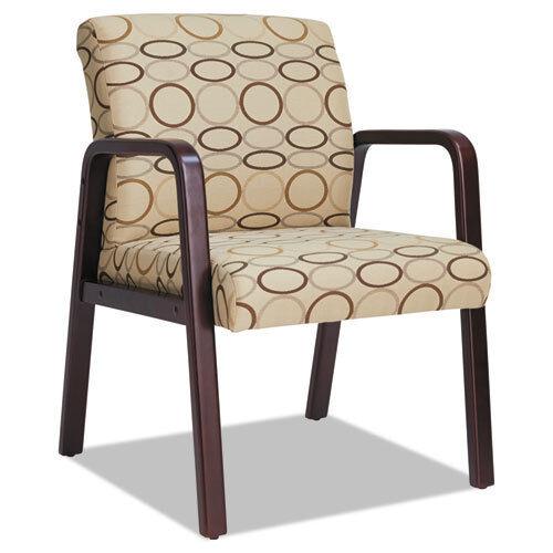 Alera Reception Lounge Guest Chair, Mahogany/Tan Fabric, ALE