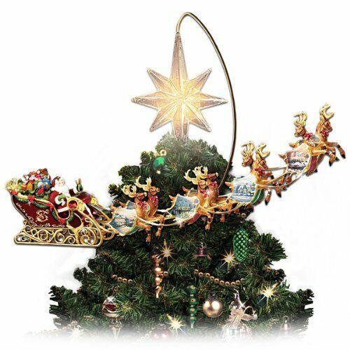 Thomas Kinkade Holidays in Motion Rotating Illuminated Tree Topper Animated