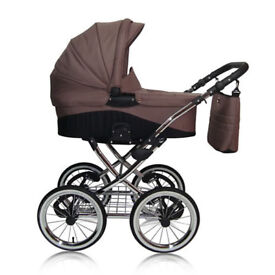 4in1 RETRO TRAVEL SYSTEM PRAM, PUSHCHAIR, CAR SEAT, RAINCOVER, APRON+NAPPY BAG Isofix base