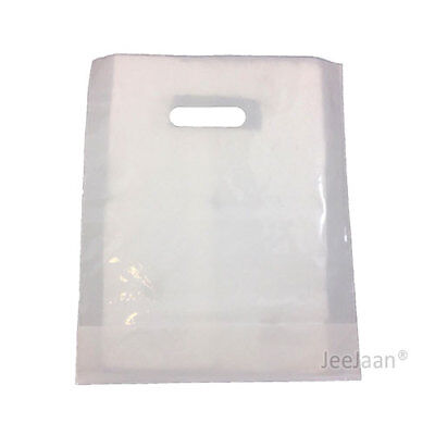 100 White Plastic Carrier Bags 15