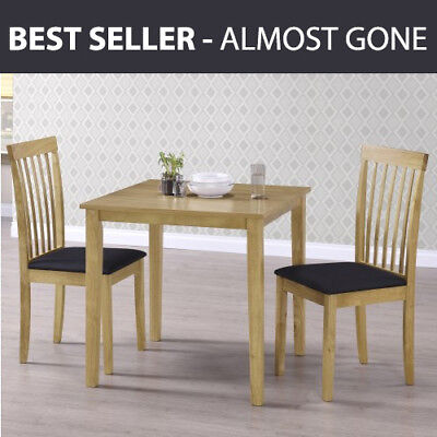 Wooden Dining Table Solid Light Oak Veneer Effect Finish Small Square