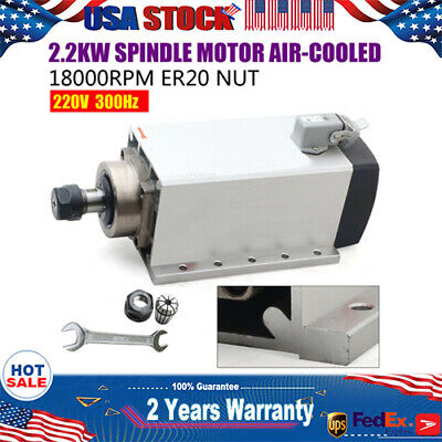 2.2kw Spindle Motor Er20 Air Cooled 18000rpm 220v Cnc Engraving Free Shipping Us